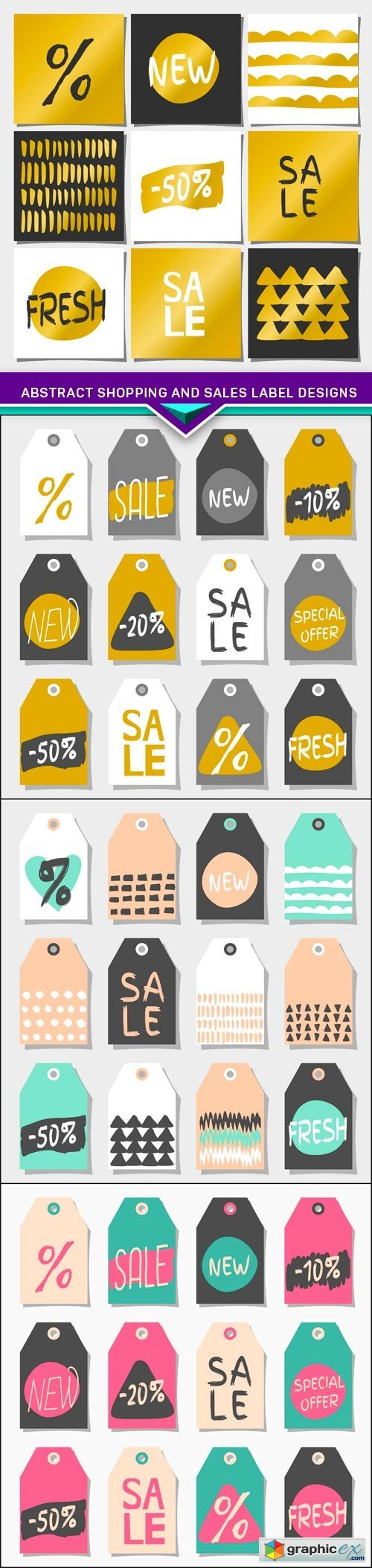 Abstract Shopping and Sales Label Designs 4X EPS