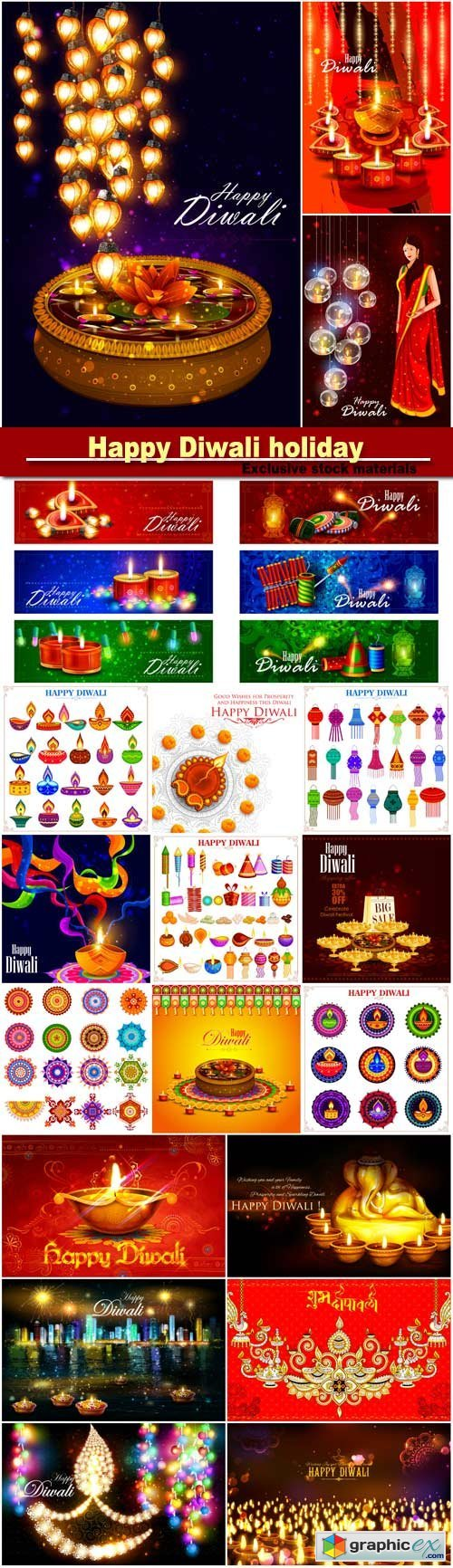 Happy Diwali holiday vector background