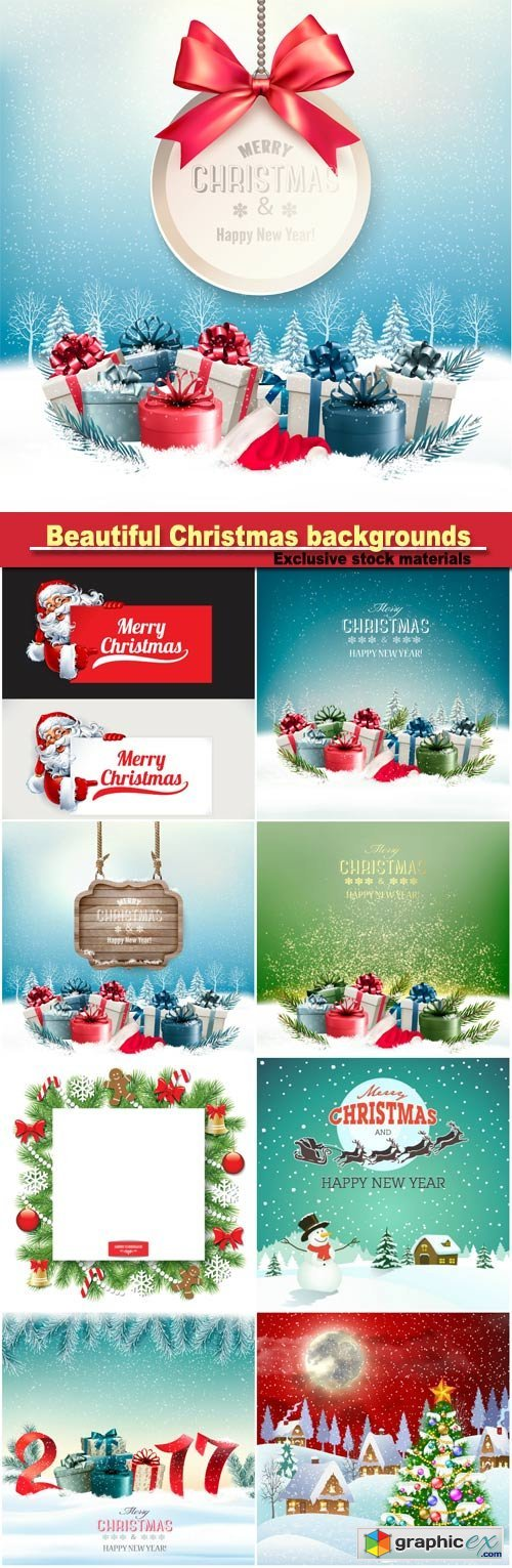 Beautiful Christmas backgrounds, sparkling elements, snowflakes, snowman