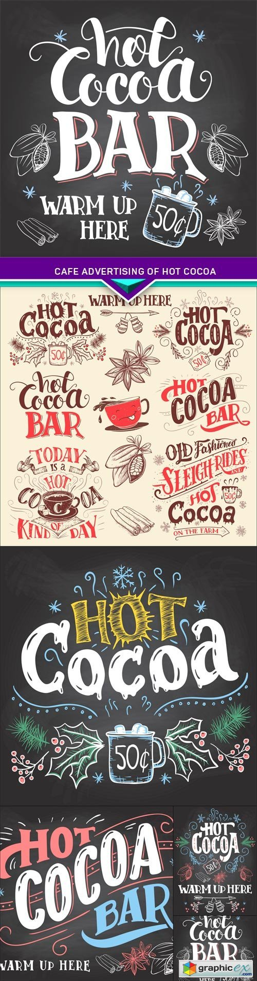 Cafe advertising of hot cocoa drink with a mug 5X EPS