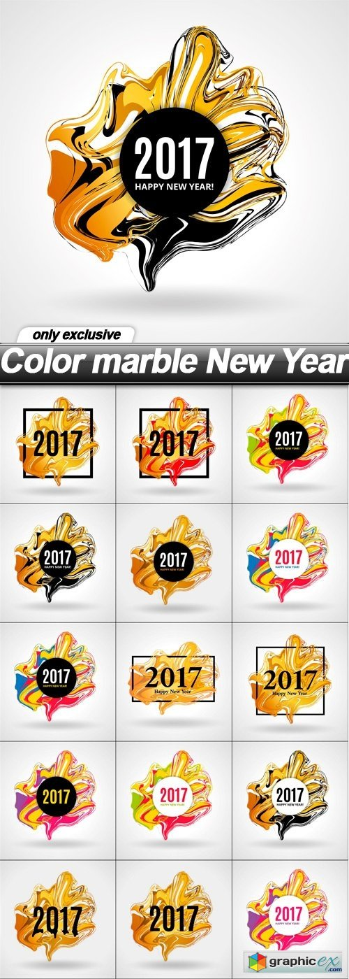 Color marble New Year - 15 EPS