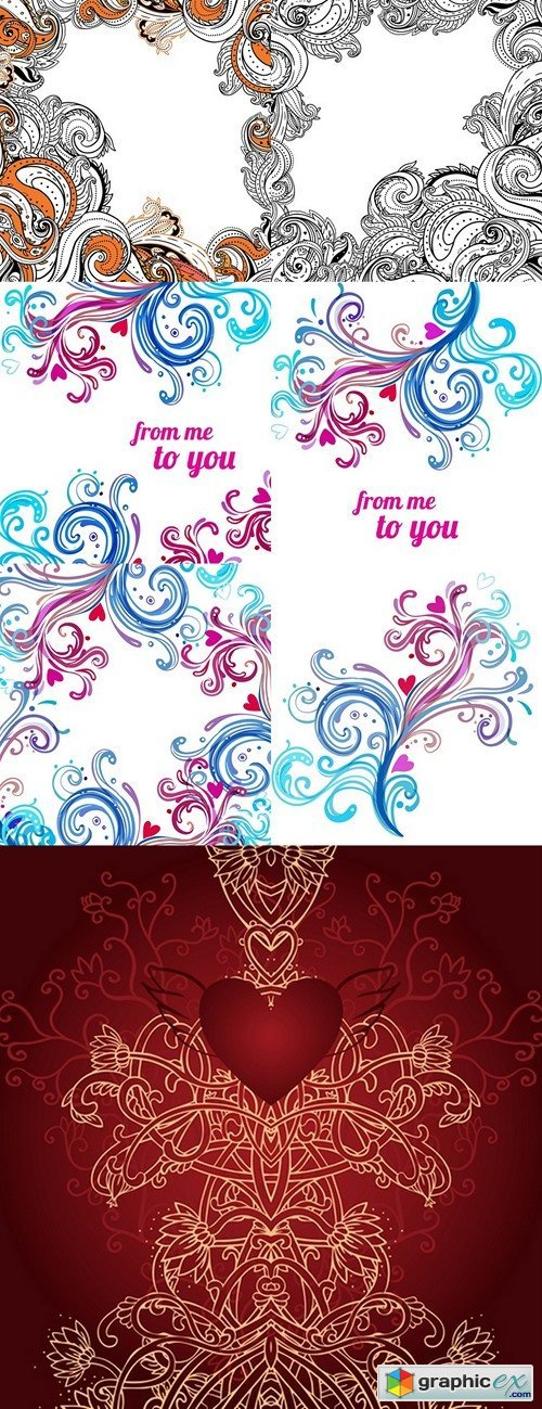 Wedding or Valentine's day card with swirls and hearts