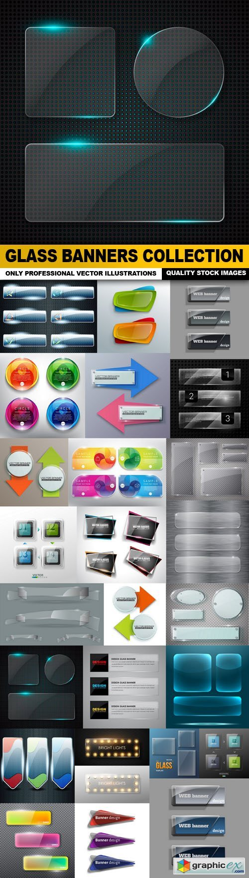 Glass Banners Collection - 25 Vector