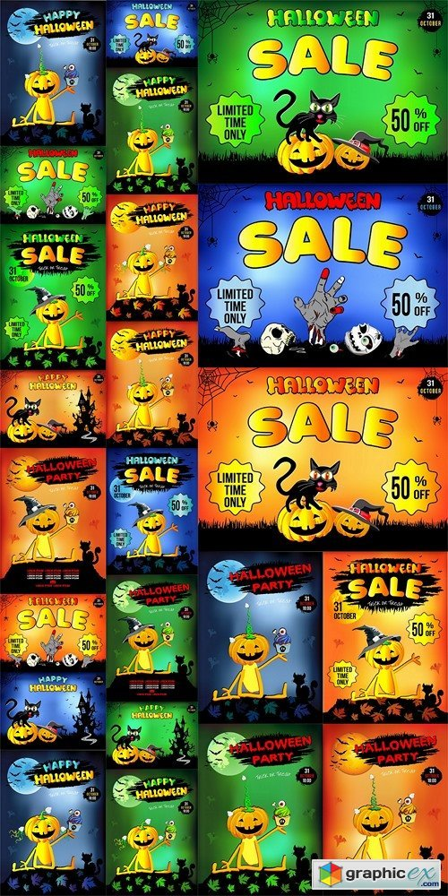 Halloween, funny cat sitting on a pumpkin, sale of goods, discount, illustration, poster, orange background