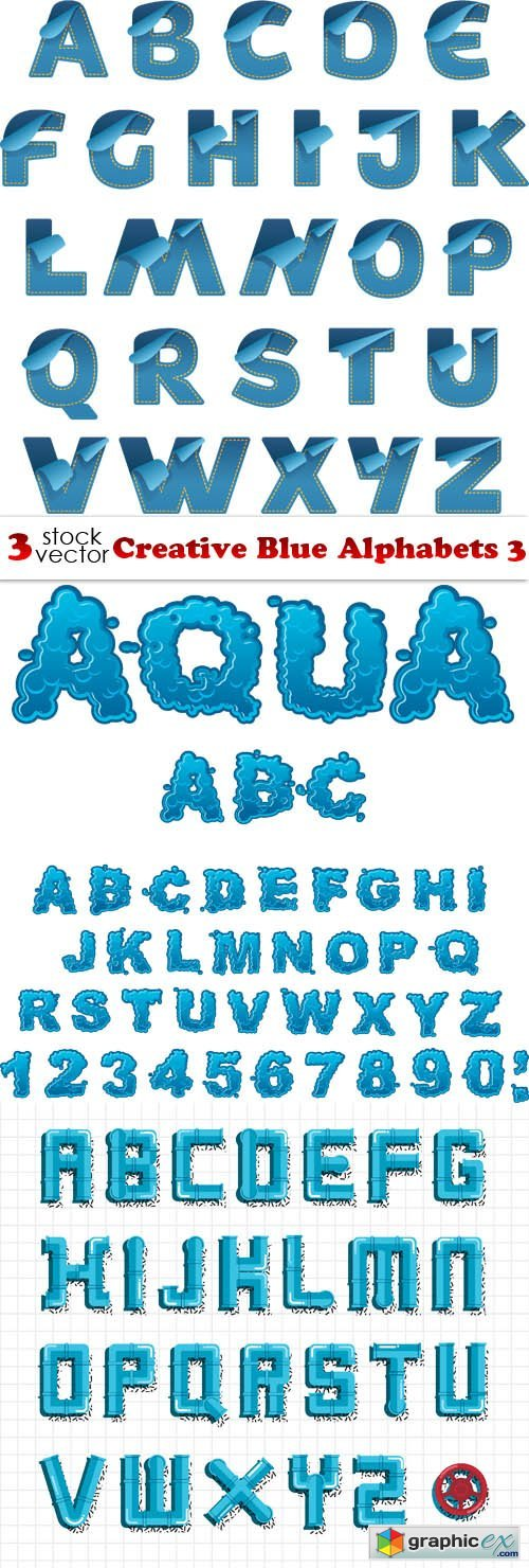 Creative Blue Alphabets 3