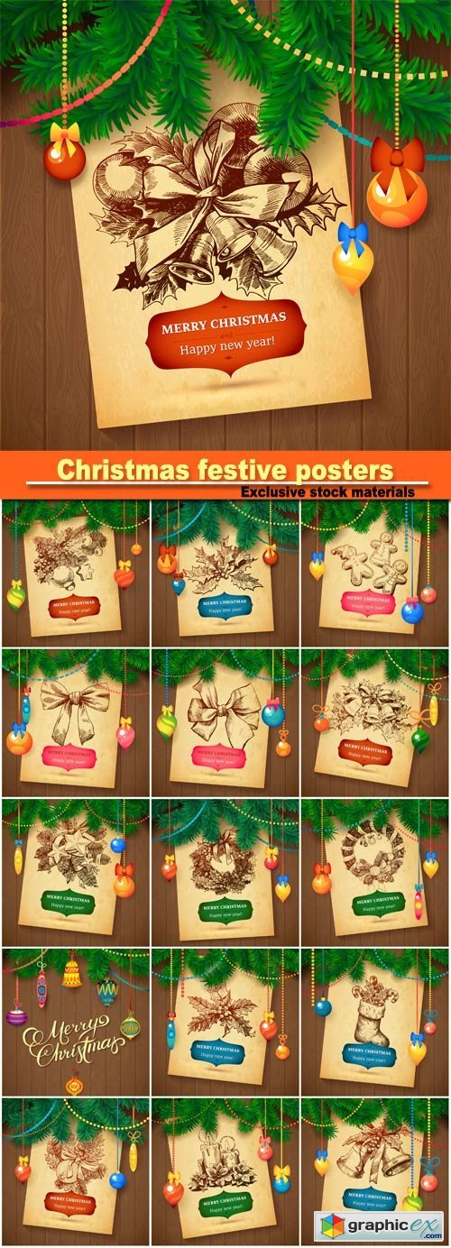 Christmas festive posters on the wooden background