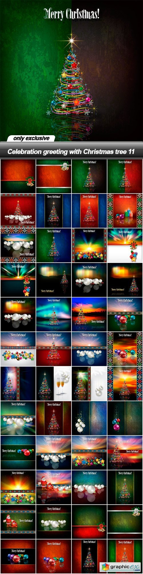 Celebration greeting with Christmas tree 11 - 48 EPS