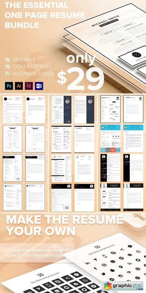 The Essential 1 Page Resume Bundle » Free Download Vector Stock