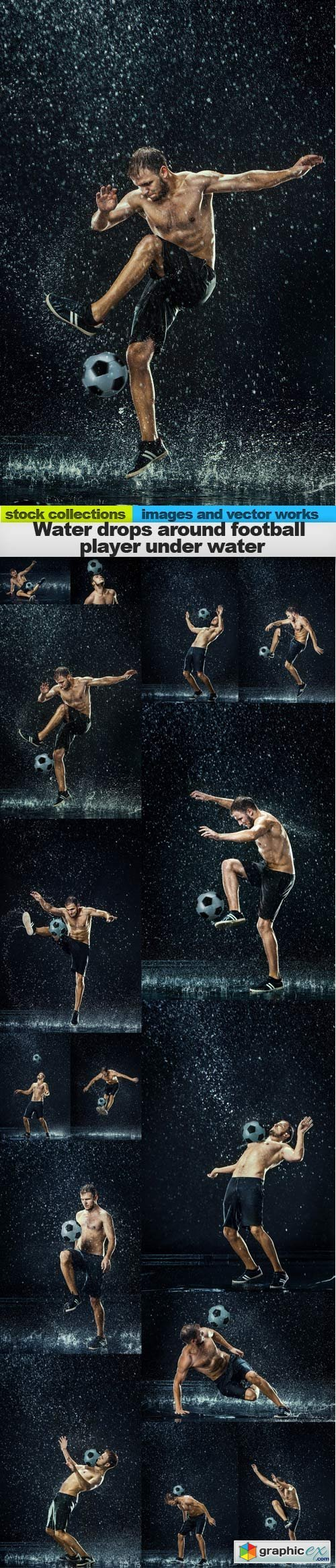 Water drops around football player under water, 15 x UHQ JPEG