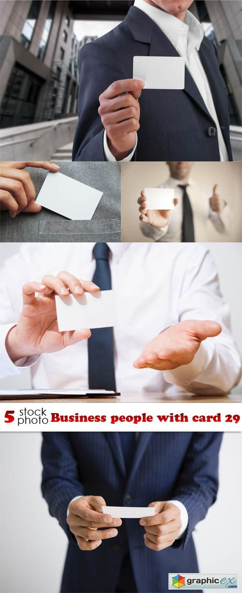 Business people with card 29
