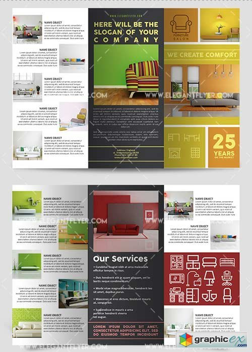 Furniture Salon V1 Premium Tri-Fold PSD Brochure Template