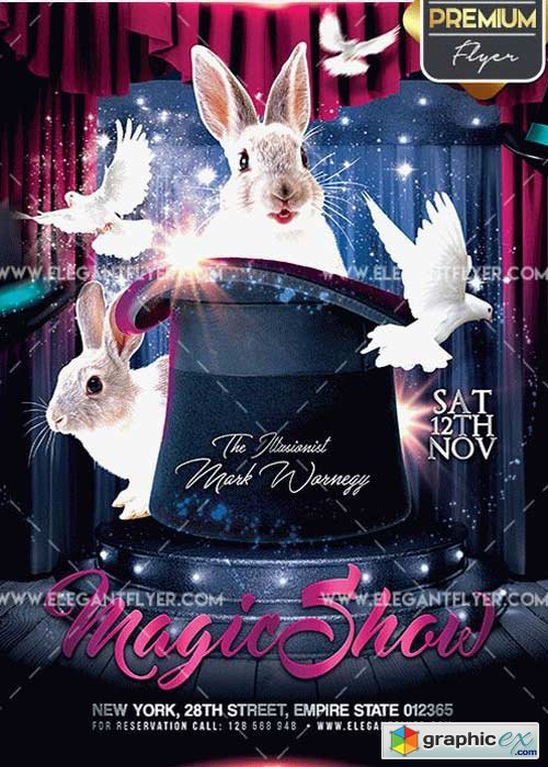 The Magic Show V1 Flyer PSD Template + Facebook Cover