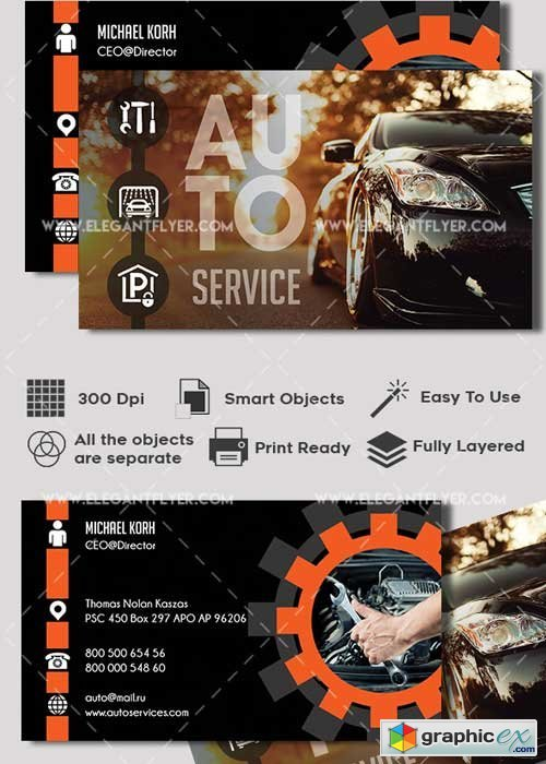 Auto Service Premium Business card PSD V1 Template