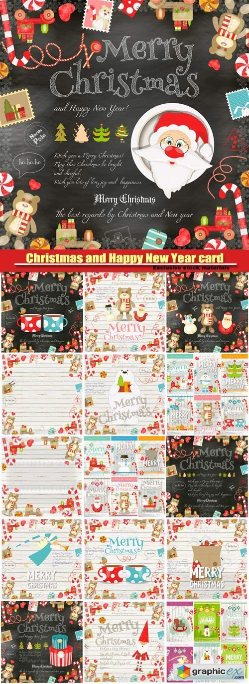 Merry Christmas and New Year card, holiday frame, santa claus and symbols