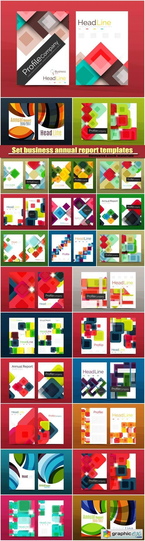 Set business annual report geometric design templates