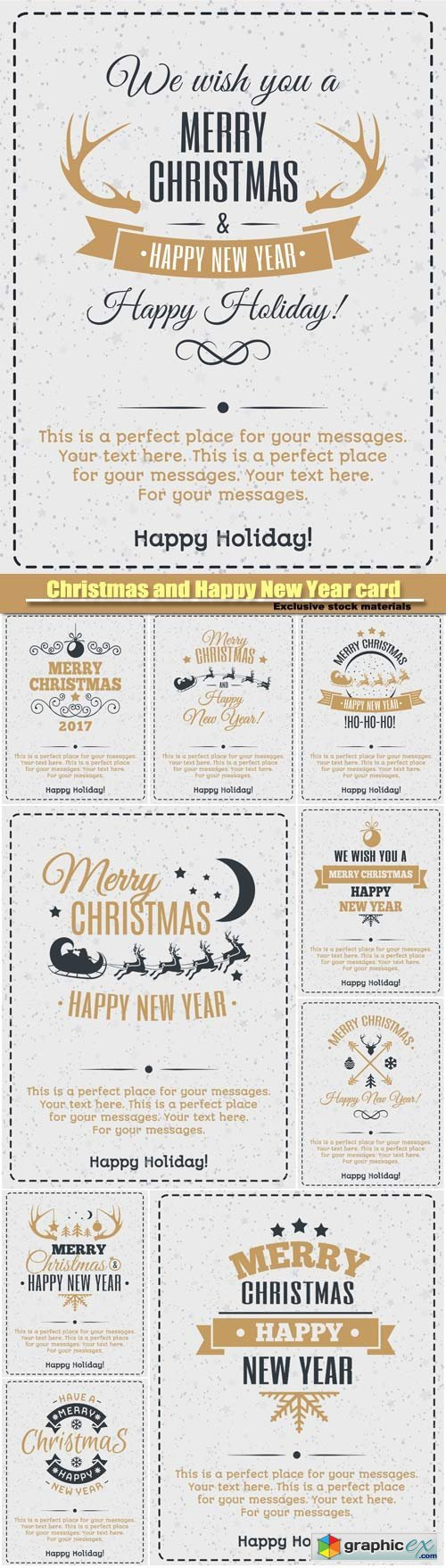 Christmas and Happy New Year card, gold color style, vintage christmas label