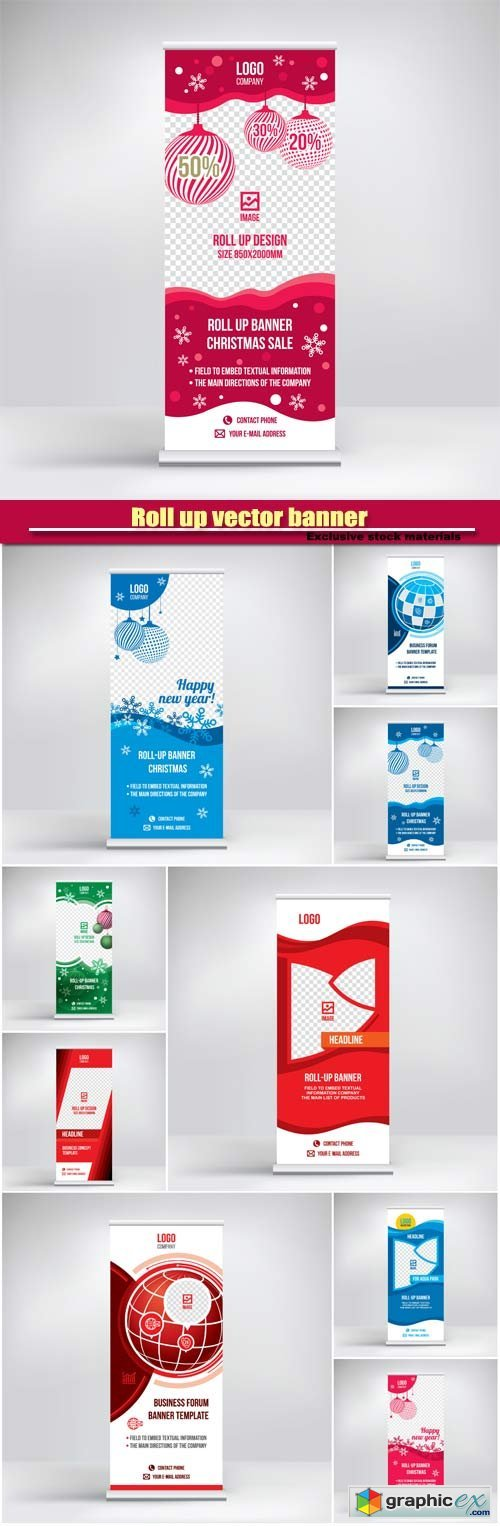 Roll up vector banner, Christmas design