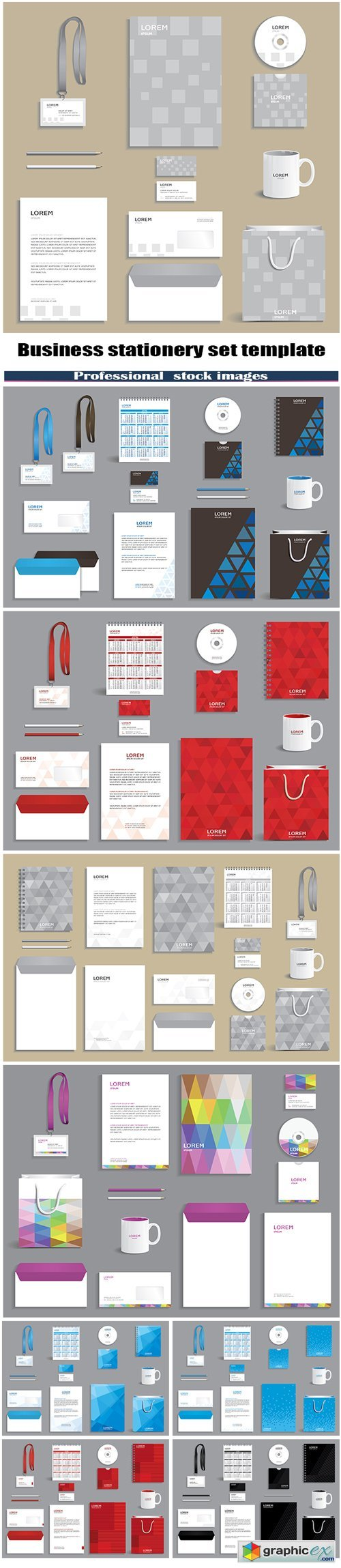 Business stationery set template
