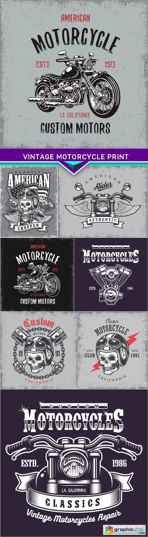 Vintage motorcycle print on grunge background 8X EPS