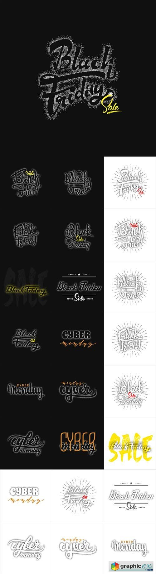 Cyber Monday and Black Friday Hand Lettering Text