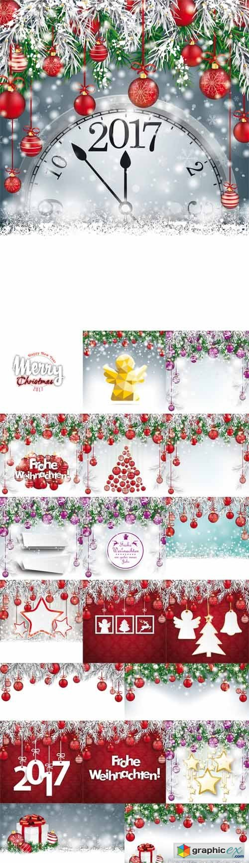 Christmas Frozen Backgrounds with Baubles Banners