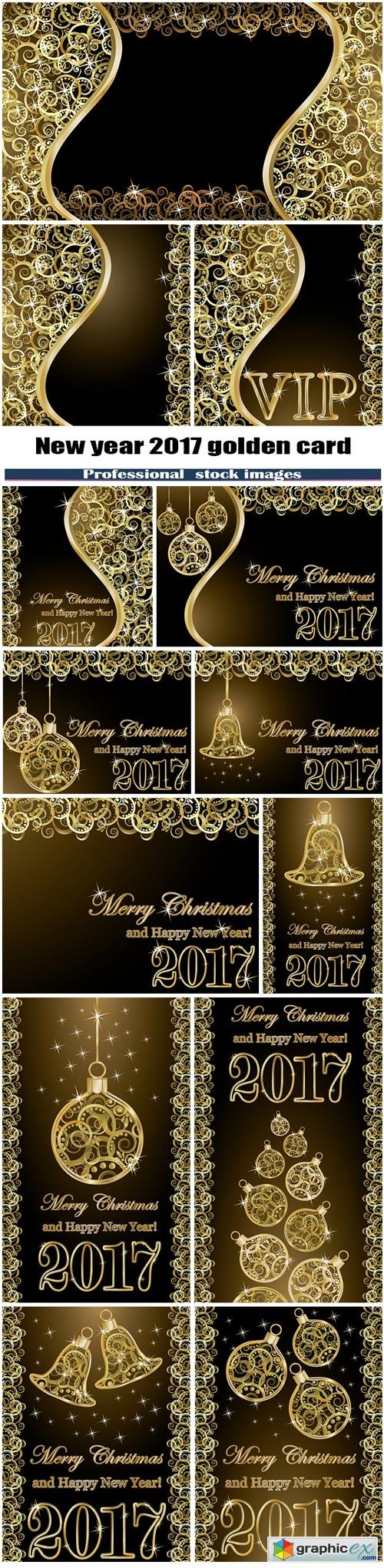 Merry Christmas and happy new year 2017 golden card