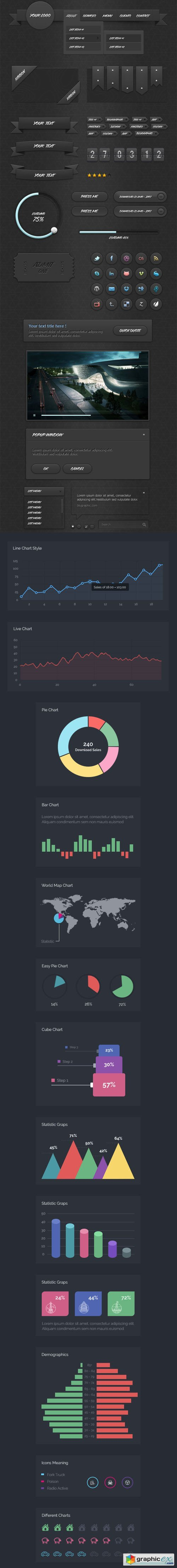 Dark Ui Kit v1.0 + Infographic Kit