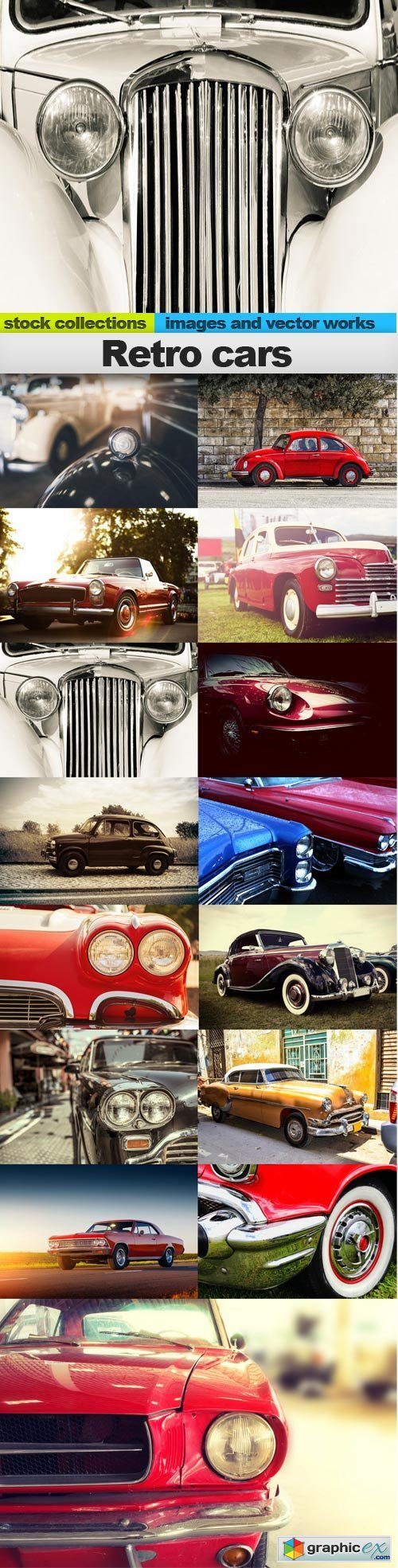 Retro cars, 15 x UHQ JPEG