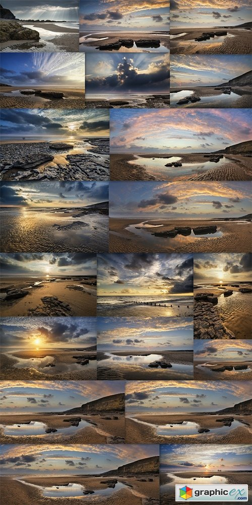 Stunning vibrant panorama sunset landscape over Dunraven Bay in