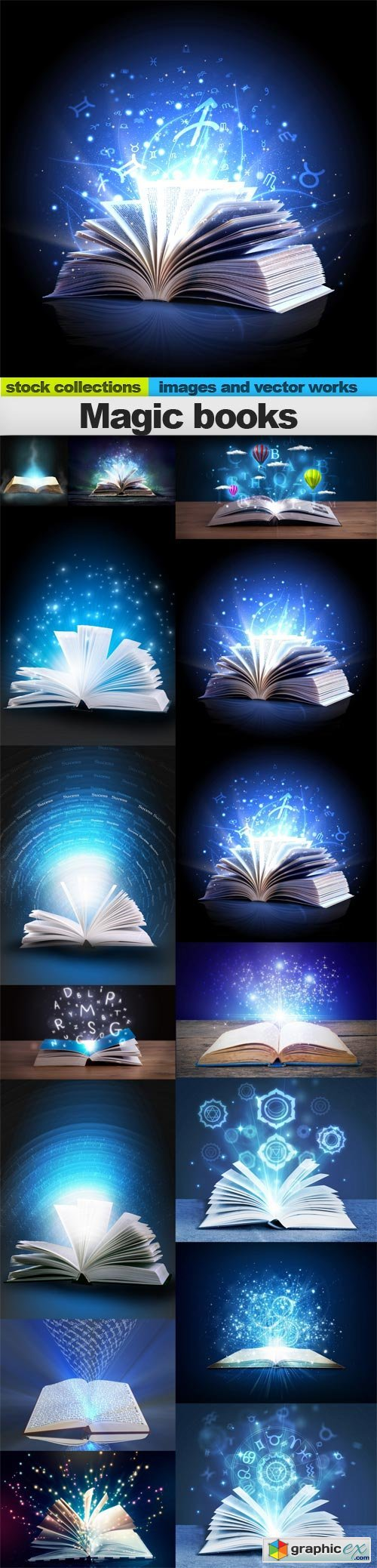 Magic books, 15 x UHQ JPEG » Free Download Vector Stock