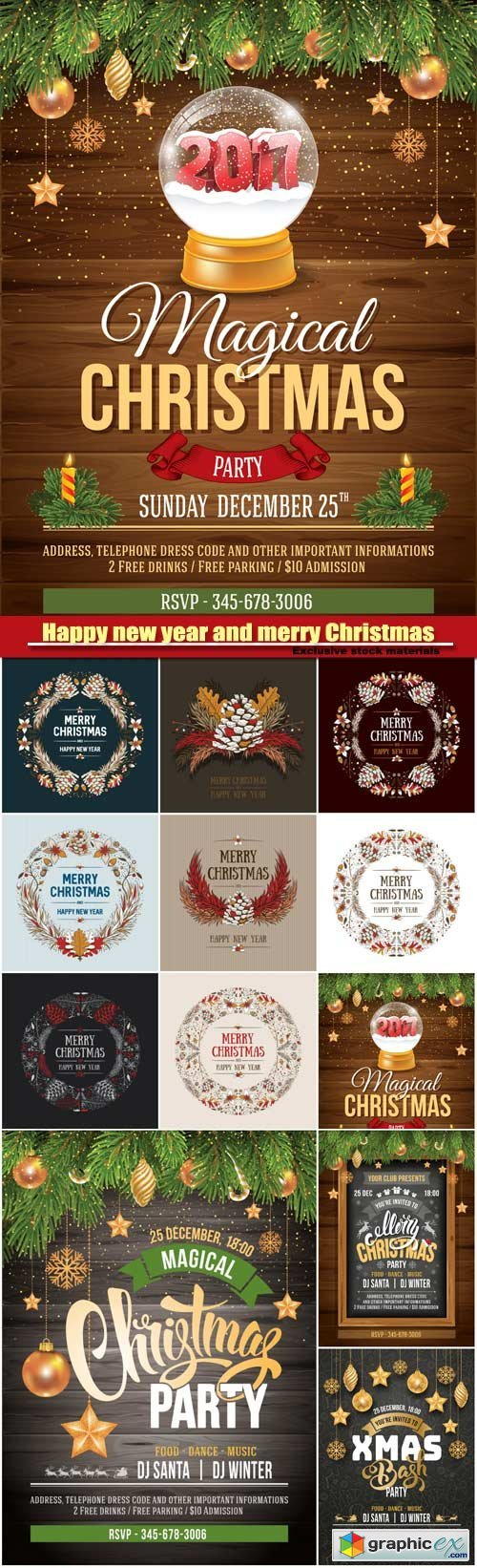 Frame Christmas design, luxury template design for Christmas party