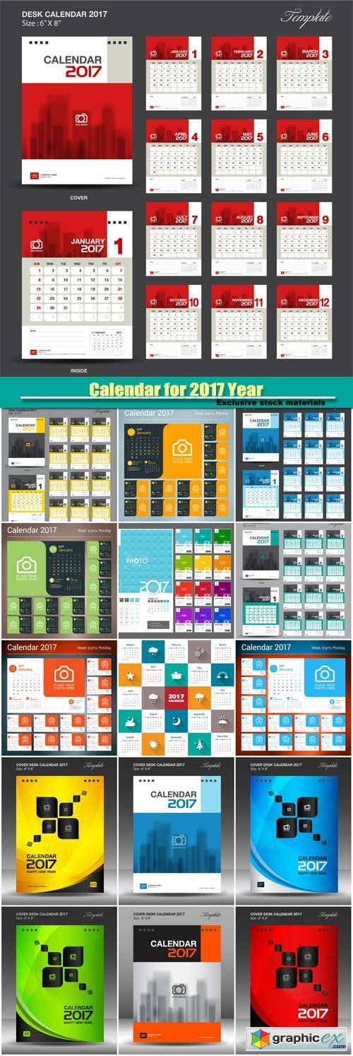 Calendar for 2017 Year, vector print template with place for photo