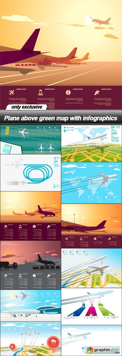Plane above green map with infographics - 13 EPS