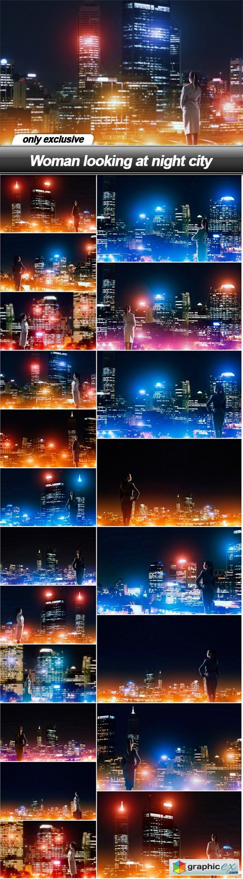 Woman looking at night city - 21 UHQ JPEG