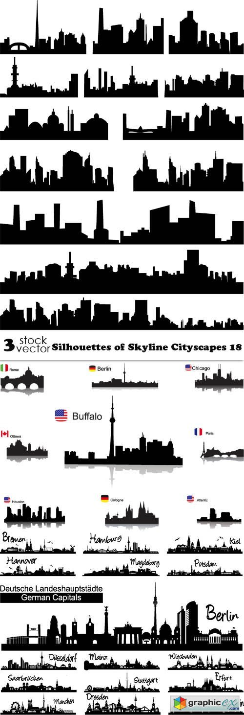 Silhouettes of Skyline Cityscapes 18