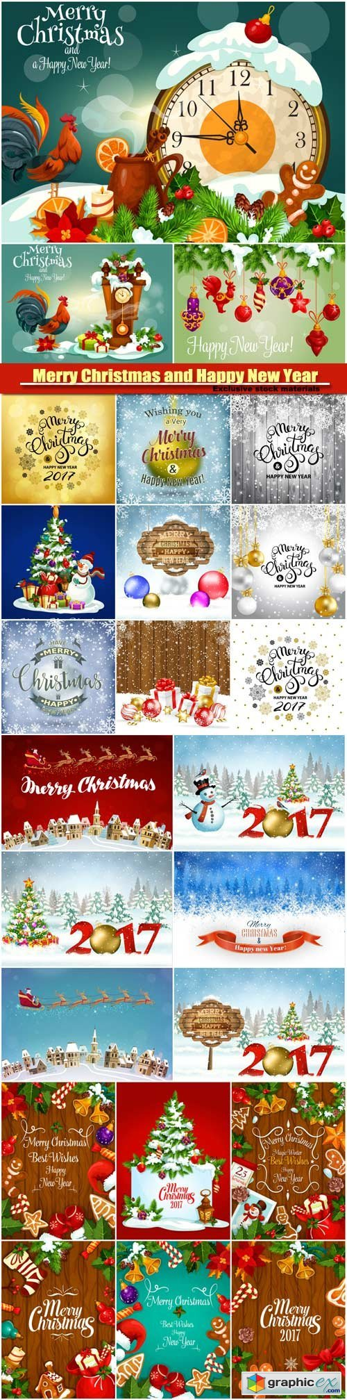 Merry Christmas and Happy New Year vector background, santa riding reindeer sleigh, gifts, christmas wreath, holly leaves