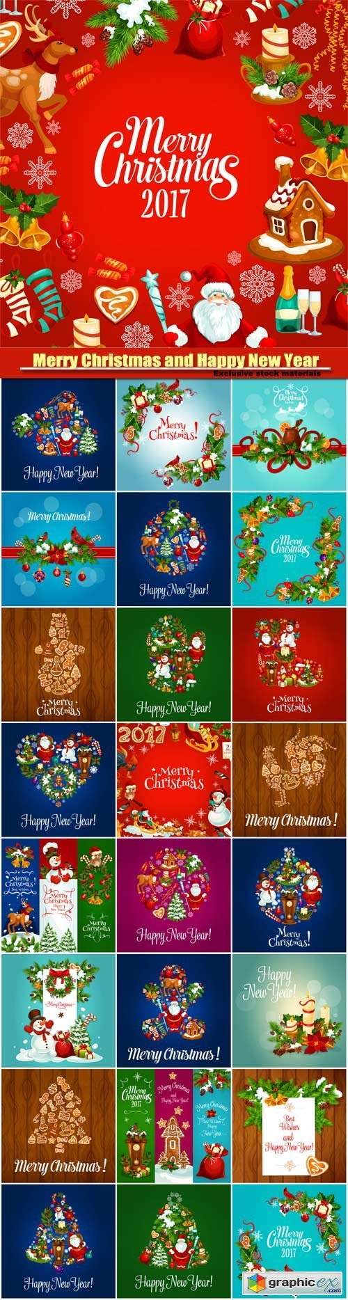 Merry Christmas and Happy New Year vector background, symbols of new year 2017, christmas snowman in hat, cock rooster