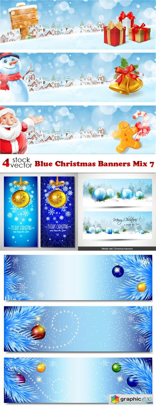 Blue Christmas Banners Mix 7