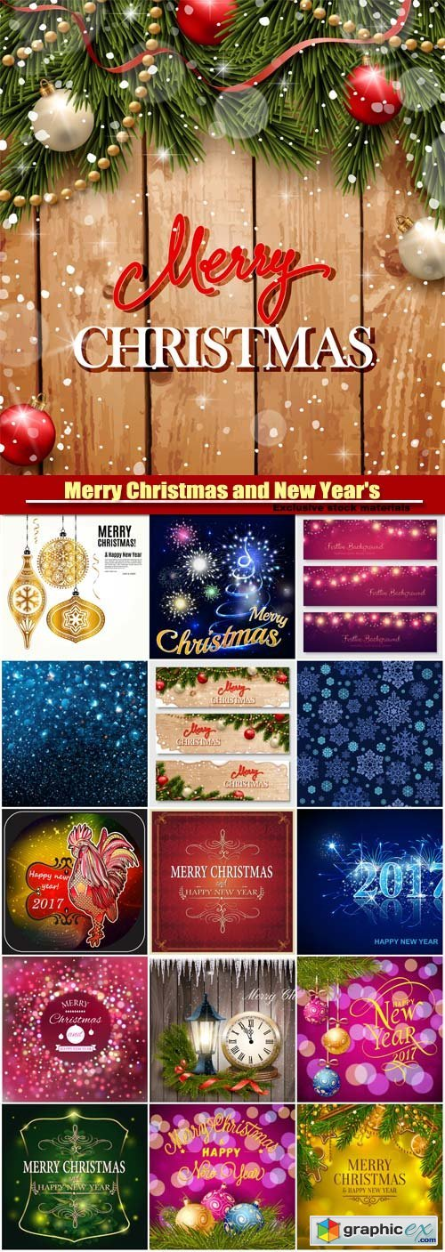 Merry Christmas and New Year's vector background, bokeh lights, rooster symbol of 2017
