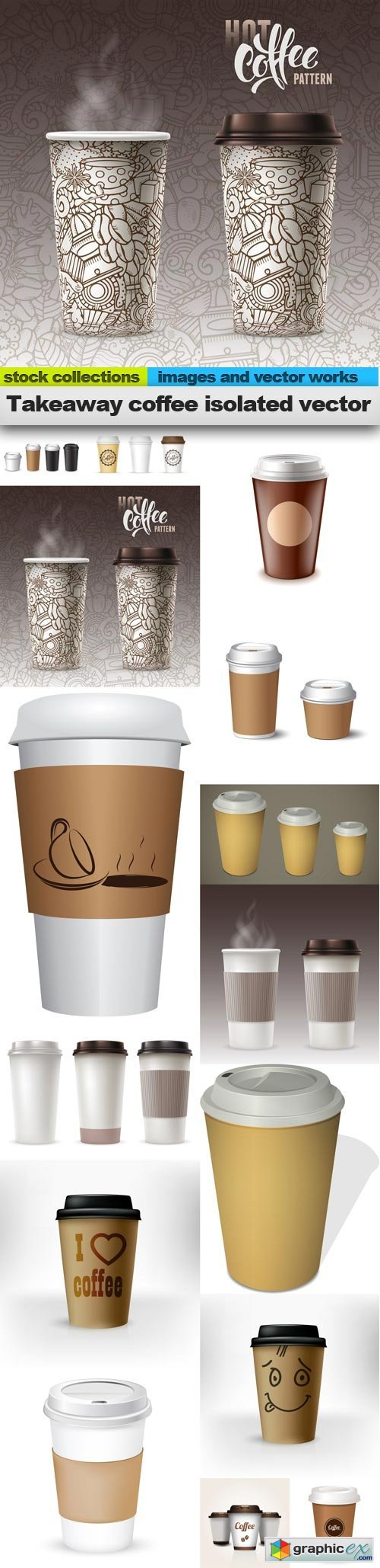 Takeaway coffee isolated vector, 15 x EPS