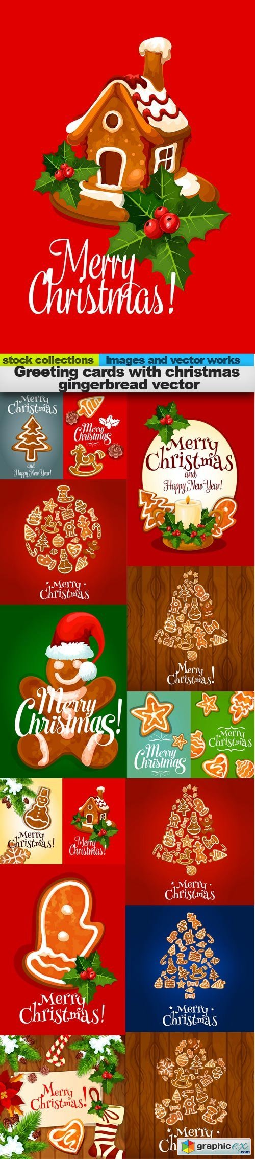 Greeting cards with christmas gingerbread vector, 15 x EPS