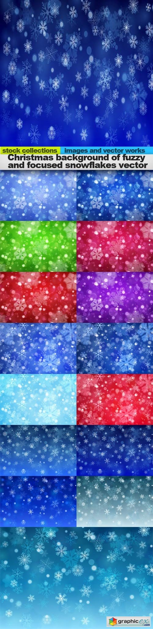 Christmas background of fuzzy and focused snowflakes vector, 15 x EPS