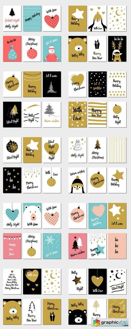 Christmas and New Year Flat Design Greeting Cards 2