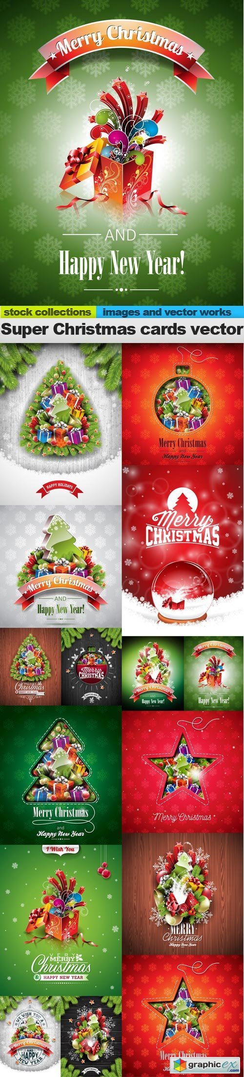 Super Christmas cards vector, 15 x EPS