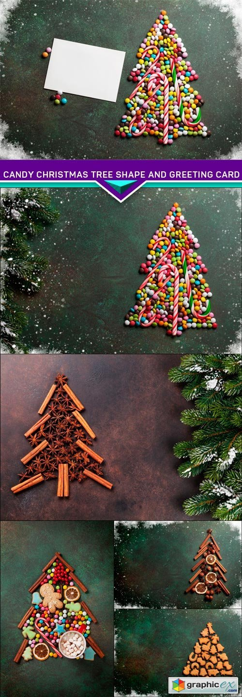 Candy christmas tree shape and greeting card 6X JPEG