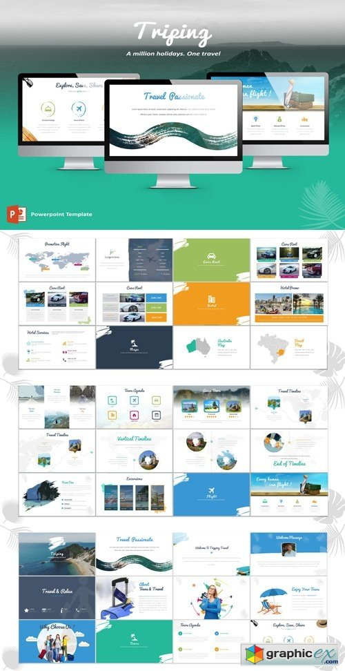 Triping Travel Powerpoint Template Free Download Vector