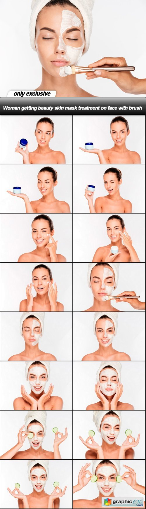 Woman getting beauty skin mask treatment on face with brush - 16 UHQ JPEG