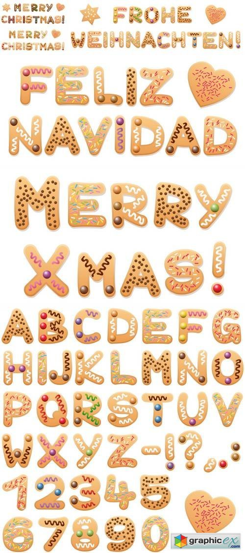 Christmas Cookies Alphabet - Sweet Letters and Numbers