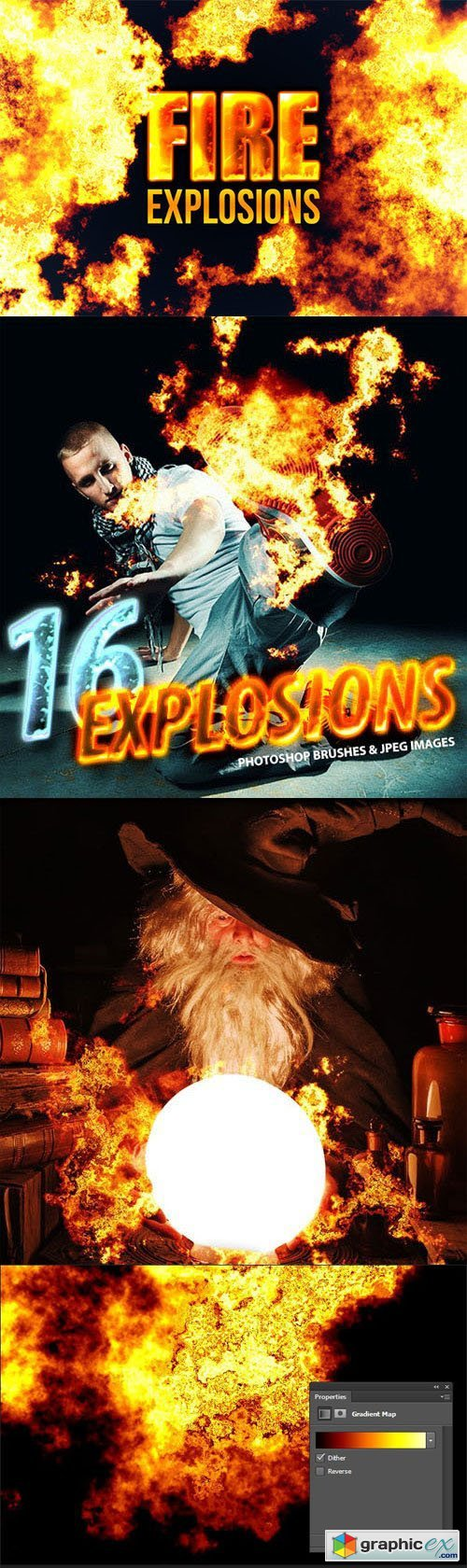 16 Photorealistic Explosion Photoshop Brushes (Re-Up)