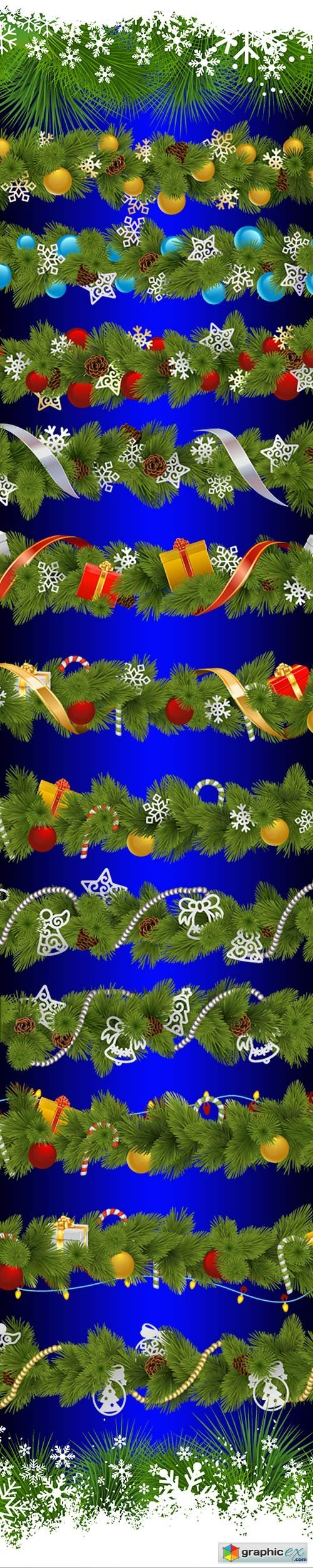 Christmas borders on a transparent background